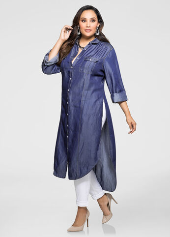 Lyocell Dark Wash Denim Duster