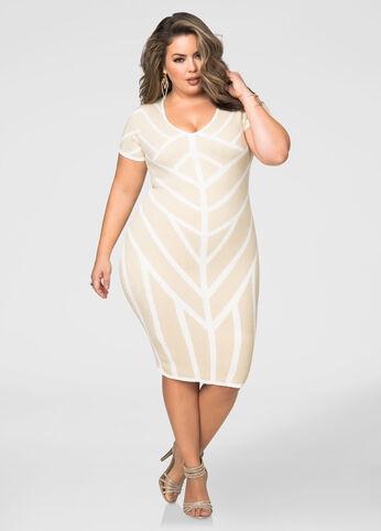 Metallic Caged Pattern Bodycon Dress