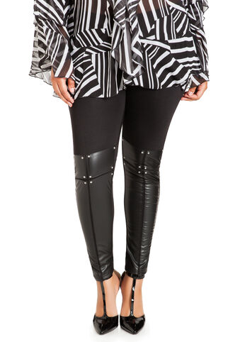 Faux Leather & Rhinestone Leggings