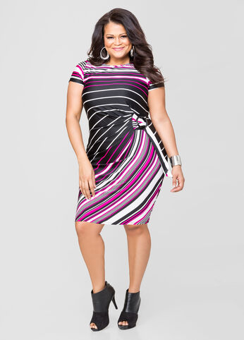 Striped Side Tie Dress
