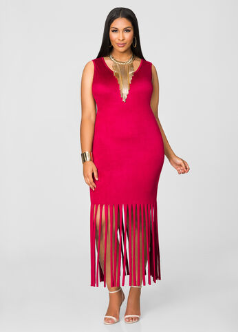Micro Suede Fringe Hem Dress