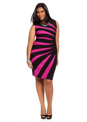 Sunburst Color Block Sheath Dress
