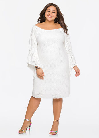 Eyelet Angle Sleeve Dress