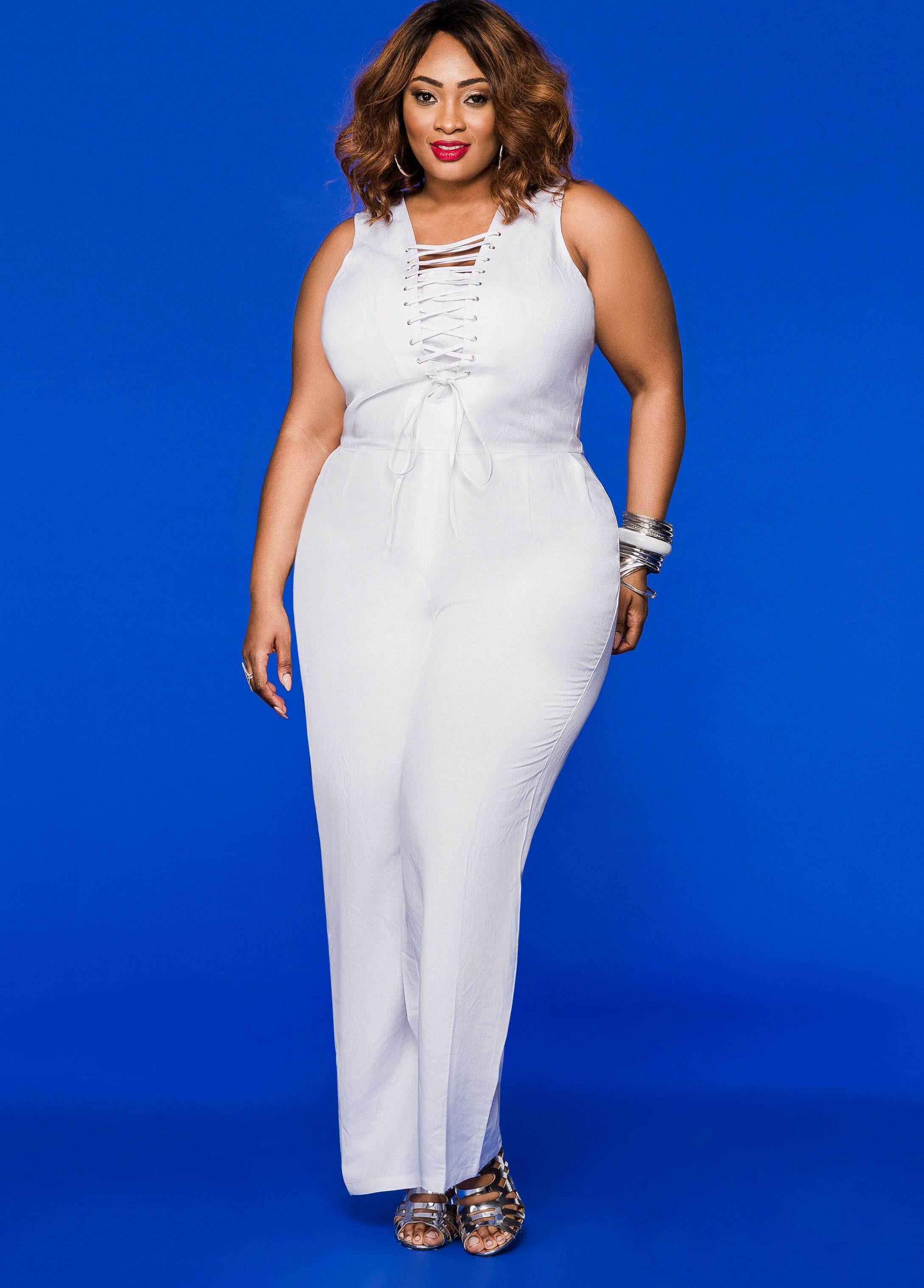 bed0ea62bac Plus size maxi dresses jumpsuits rompers ashley stewart jpg 346x482 Plus  size white dressy jumpsuit