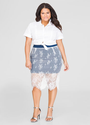Lace Overlay Denim Skirt