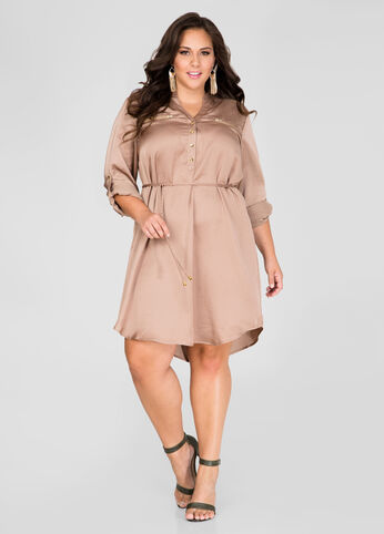 Satin Zip Detail Shirtdress