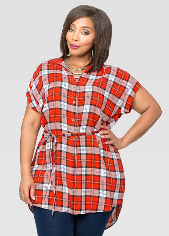 Belted Plaid Hi-Lo Tunic