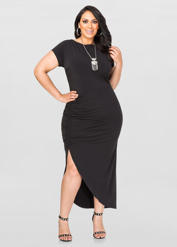 Plus Size Ruched Maxi Dress in Black - Front