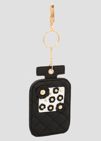 Quilted Perfume Bottle Key Chain Charm