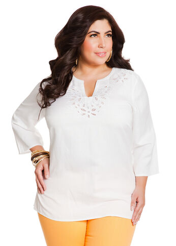 Cutout Embroidred Tunic