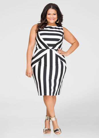 Striped Ponti Sheath Dress