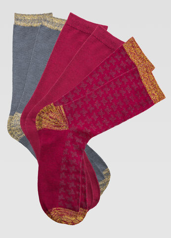 3-Pack Lurex Houndstooth Crew Socks