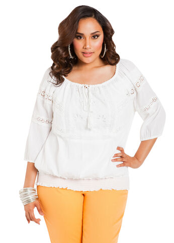 Gauzy Crochet Trim Peasant Top