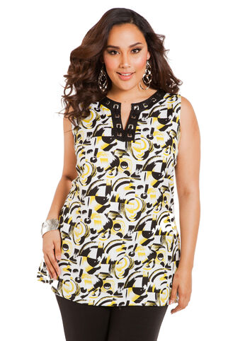 Sleeveless Print Grommet Tunic