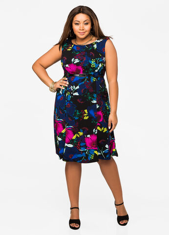 Sleeveless Belted Floral A-line Dress