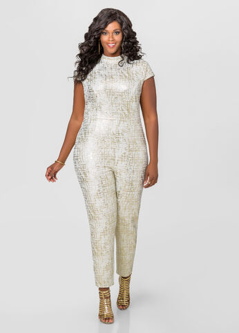 Gold Foil Mock Neck Jumpsuit