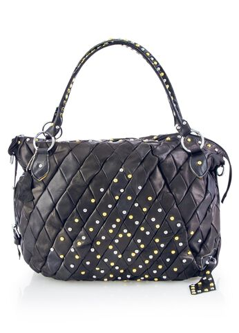 Dome Studded Leather Quilted Hobo