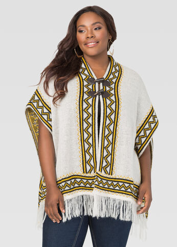 Geo Toggle Poncho at Ashley Stewart
