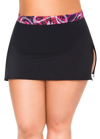 Spiral Print Swim Skirt