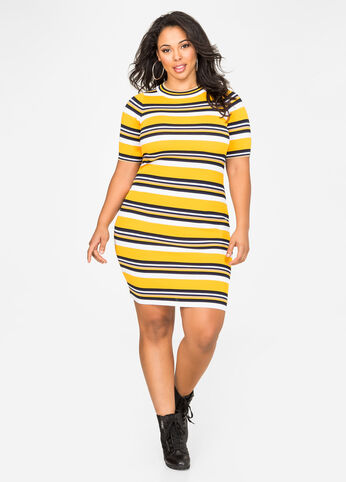 Athletic Stripe Sweater Dress