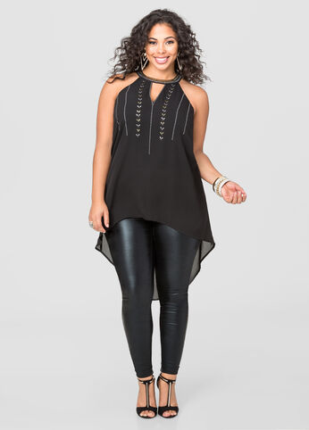 Embellished Hi-Lo Blouse