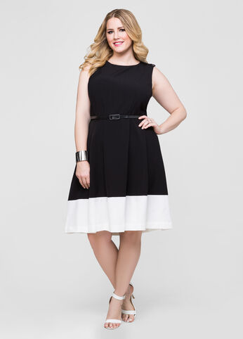 Belted Colorblock Hem Dress