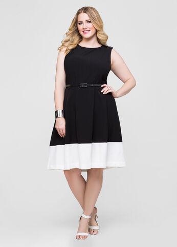 Belted Colorblock Hem Dress