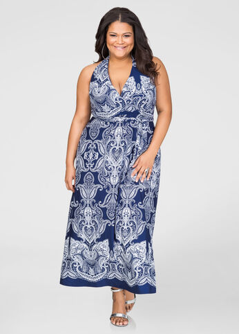 Bandana Print Halter Maxi Dress