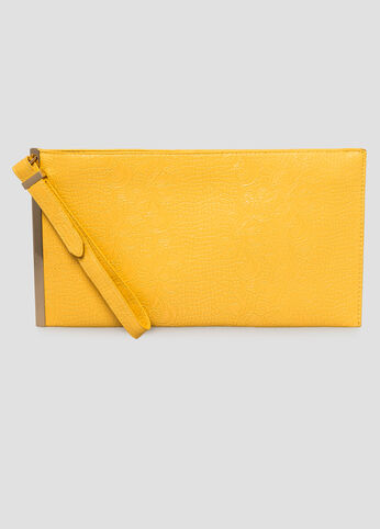Floral Embossed Bar Clutch