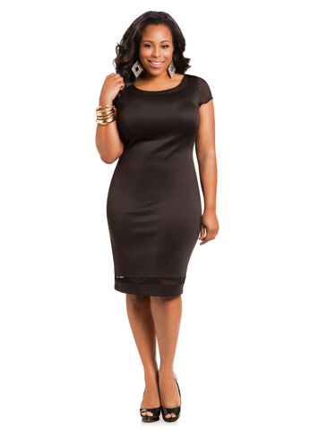Mesh Panel Cap Sleeve Dress