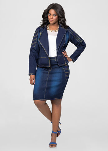 Moto Stitch Denim Pencil Skirt