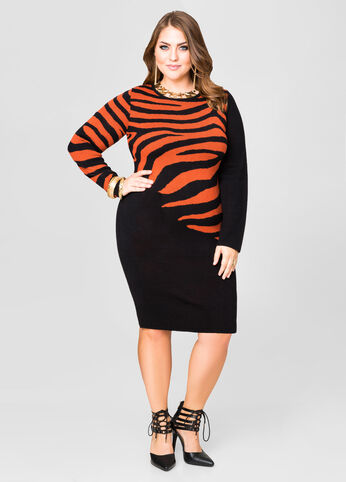 Tiger Placement Sweater Dress