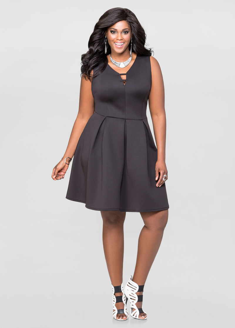 Textured Neoprene Skater Dress-Plus Size Dresses-Ashley ...