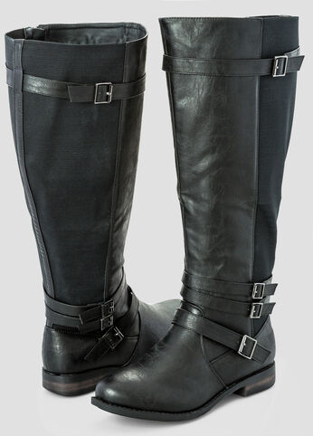 Slim Buckle Stretch Back Flat Tall Boot - Extra Wide Width Wide Calf