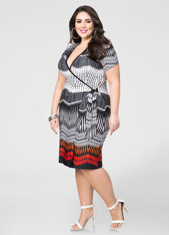 Border Print Wrap Dress