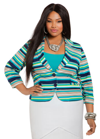 Multicolor Striped Ponte Blazer