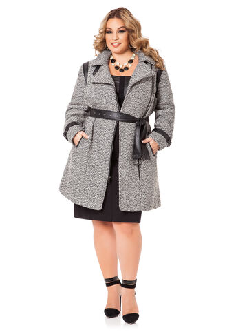 Pleather Trimmed Tweed Trench Coat