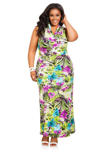 Floral Drape Neck Halter Maxi Dress