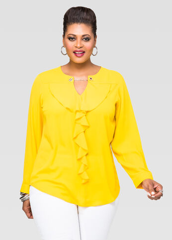 Ruffle Chain Neck Blouse