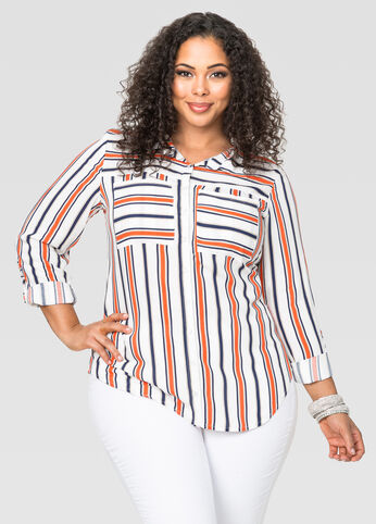 Striped Hi-Lo Tunic Shirt