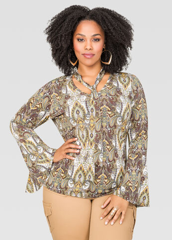 Printed Tie Neck Bell Sleeve Top