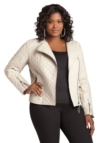 Faux Leather Quilted Motorcycle Jacket