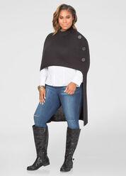 Mock Neck Hi-Lo Poncho Sweater