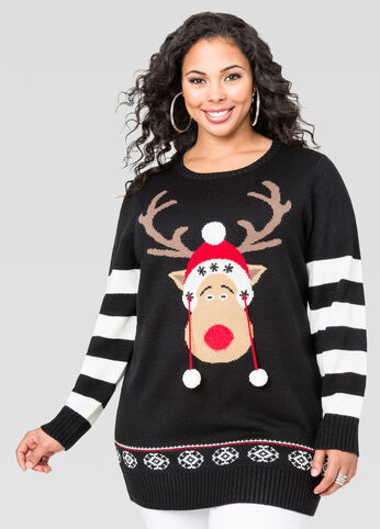 Pom Pom Reindeer Holiday Tunic Sweater