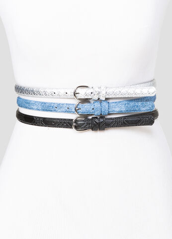 Metallic And Denim Belt Trio