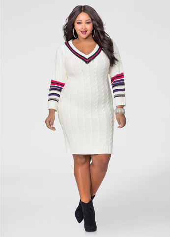 Cable Knit Varsity Sweater Dress
