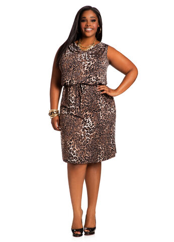Drape Neck Animal Print Dress