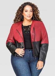 Colorblock Moto Jacket