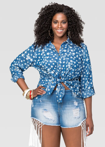 Split Back Star Denim Shirt