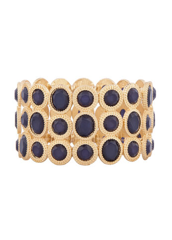 Gold Tone and Blue Crystal Stretch Bracelet